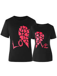 valentines shirts 2018 valentines day heart printed matching sleeve t