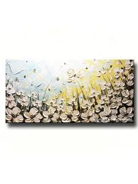 poppy home decor original art abstract painting white flowers poppies blue gold