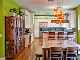 eclectic kitchen ideas eclectic kitchen cabinets with green wall and wooden dining table