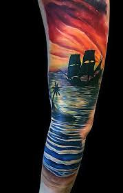 75 beach tattoos for men serene sandy shore designs