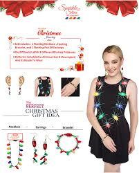 light up christmas earrings amazon com prextex christmas led light up set flashing necklace