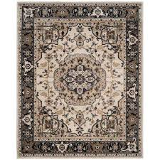 Navy And Beige Area Rugs 8 X 10 Floral Cream Area Rugs Rugs The Home Depot