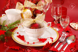 decoration of christmas table in red and white colors stock photo