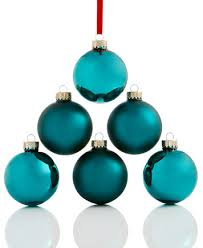 set of 6 teal glass ornaments created for macy s