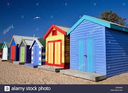 bathing boxes at dendy street beach brighton melbourne australia