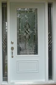 Etched Glass Exterior Doors Semi Transparent Glass Door On White Wooden Frame With Silver