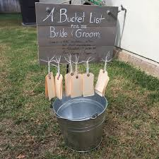 a bucket list for a bridal shower or wedding reception from a