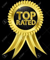 toprated top rated golden label with golden ribbons illustration royalty