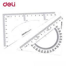 aliexpress com buy deli plastic triangle ruler student