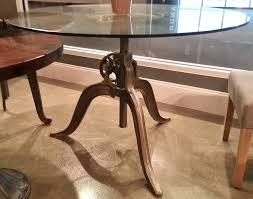 industrial glass dining table industrial 47 round glass top hand crank dining table high end