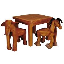 kids animal table and chairs hand carved animal table and chair set hand carved animal and