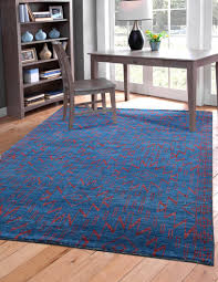 blue and red southwest santa fe pattern wool area rug woodwaves