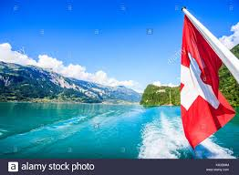 Ka Flag Switzerland National Flag At Cruise Boat U0027s Rear End With Beautiful