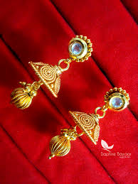 Gift For Wife S78 Daphne Handmade Golden Mangalsutra Set With Earrings For