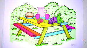 colours for kids picnic table coloring pages l how to color picnic