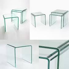 glass coffee table set of 3 nest of 3 glass side tables 12mm in stock abode interiors