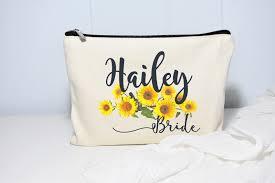 bridal makeup bag sunflower wedding makeup bag moonwake designs