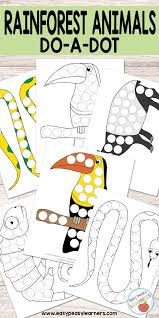 free rainforest animals do a dot printables easy peasy learners