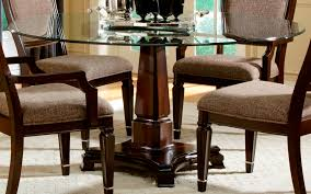 wood base round glass top dining table