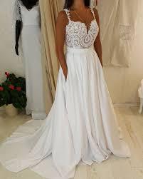 lace top wedding dress spaghetti sweetheart neck lace top wedding dress with pocket