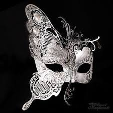 white masquerade masks for women 3d half butterfly design venetian masquerade mask for women silver