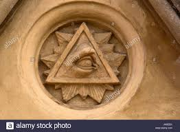 the eye of providence or all seeing eye on the facade of the
