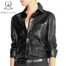 leather blouse autumn top blouse sheepskin leather shirts black