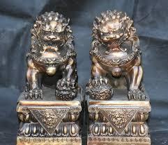 foo lion statue free shipping 12 china copper door foo fu dog
