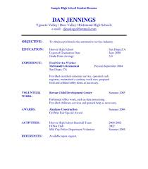 high resume exles for college applications high student resume objective exles sle for college