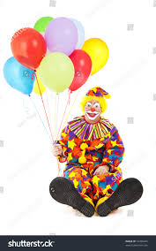 clown baloons friendly birthday clown balloons sitting his stock photo 54486445