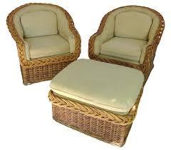 wicker works classic round back chairs u0026 ottoman chairish