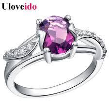 Purple Wedding Rings by Aliexpress Com Buy 5 Off Silver Purple Wedding Ring Charms