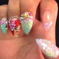 ariel little mermaid disney bubble stiletto nails nailed by mary