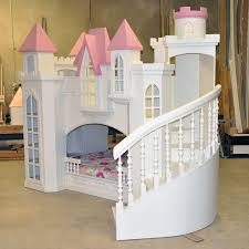 Bunk Beds For Teenage by White Wooden Castle Bunk Bed With Pink Roof Having Spiral White