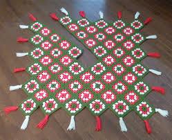 crochet granny square christmas tree skirt holiday decor crocheted
