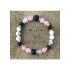 rose quartz beads bracelet images Bracelet 2 hearts design 16 howlite rose quartz lava beads jpg