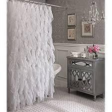 White Shower Curtain Cascade Shabby Chic Ruffled Sheer Shower Curtain