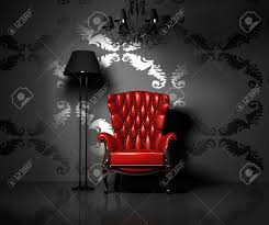 3d interior scene with classic armchair and lamp stock photo