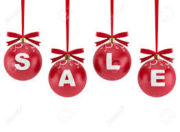 christmas decorations with the word sale isolated on white