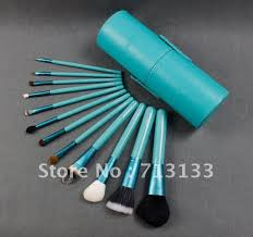 cosmetic brush zoreya 12pcs makeup set in round green high quality leather case