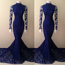 navy blue lace mermaid high neck prom dress with long sleeves