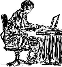 sketch of a man working behind computer table stock illustration