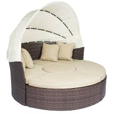 Brown Wicker Patio Furniture Outdoor Patio Sofa Furniture Round Retractable Canopy Daybed Brown