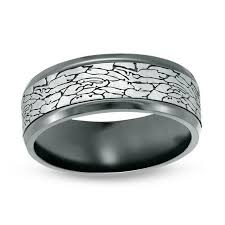 comfort fit titanium mens wedding bands men s 8 0mm crackle pattern comfort fit wedding band in black