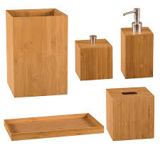 bamboo bathroom accessory kit teak home bathroom accessories