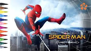 spider man homecoming jump coloring pages for children with