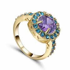 s wedding ring trendy purple amethyst size 7 10kt yellow gold filled women s