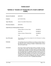 Term Sheet Template Term Sheet For Series A Of Financing Template Sle