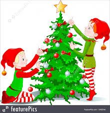 decorating christmas tree holidays elves decorate a christmas tree stock illustration