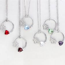 birthstone necklaces for online shop birth month statement necklace dog paw birthstone